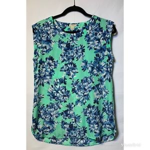 J.Crew Extra Small Green Blue Tunic Top Self Trim